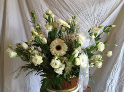 All white memorial basket
