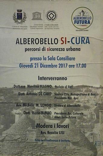 «Alberobello SI-CURA», convegno sulla sicurezza urbana
