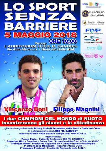 «Il nuoto si fa in 3», tutto pronto per l'evento con Magnini e Boni