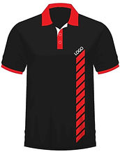Black polo tee shirt with red collar and fitted sleeves with red srtiped detail and logo on the right.