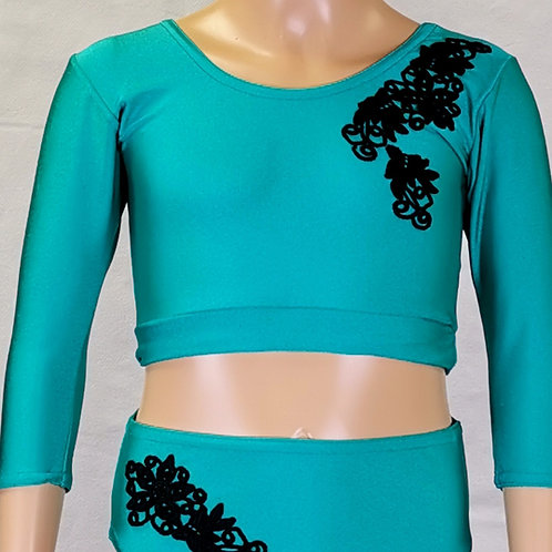 Plain Crop Top with Applique Detailing