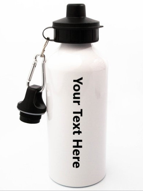 White Aluminium Water Bottle with Name & Logo