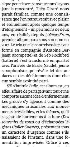 """Télérama """"fff"""" pour l'album Bulle"""