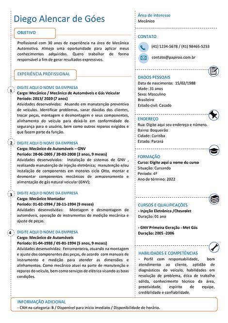 Currículo Laranja, azul e preto - REF:MCV074