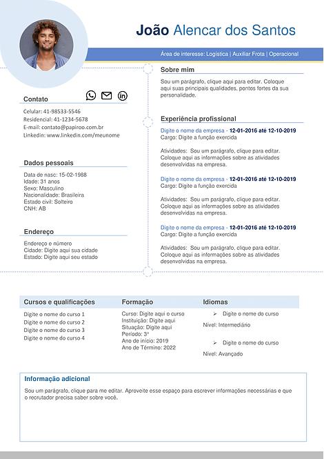 Currículo Azul claro e cinza - REF: MCV008