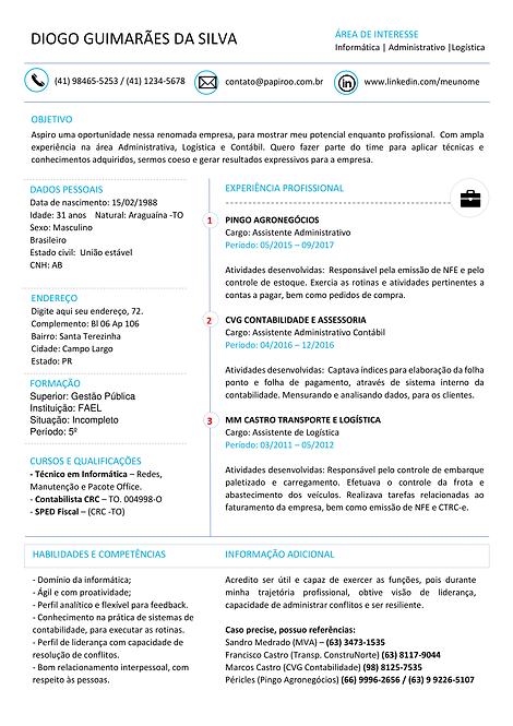 Currículo azul claro e preto - REF: MCV065
