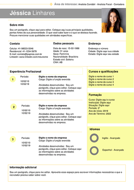Currículo amarelo claro e cinza - REF: MCV012