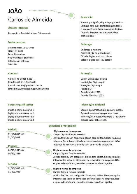 Currículo Verde Escuro e preto - REF: MCV040