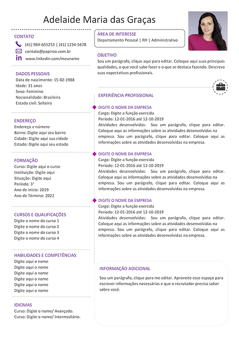 Currículo Púrpura e cinza escuro - REF: MCV036