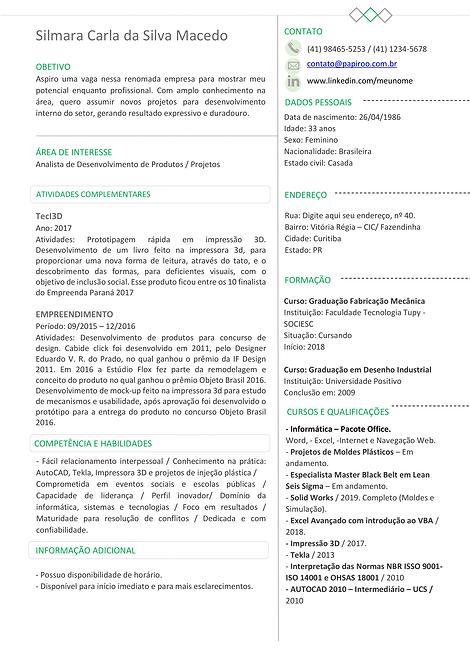 Currículo verde claro e cinza - REF:MCV072