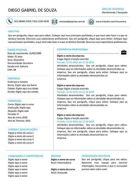 Currículo azul claro e preto - REF: MCV046