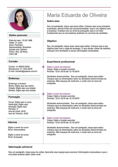 Currículo cinza claro e púrpura claro - REF: MCV032
