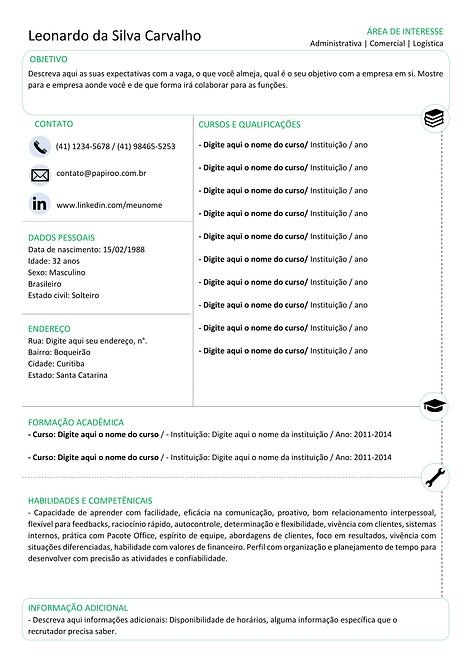 Currículo Verde e preto - REF:MCV078