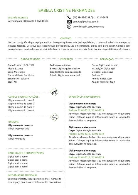 Currículo Verde Claro e Cinza - REF: MCV045