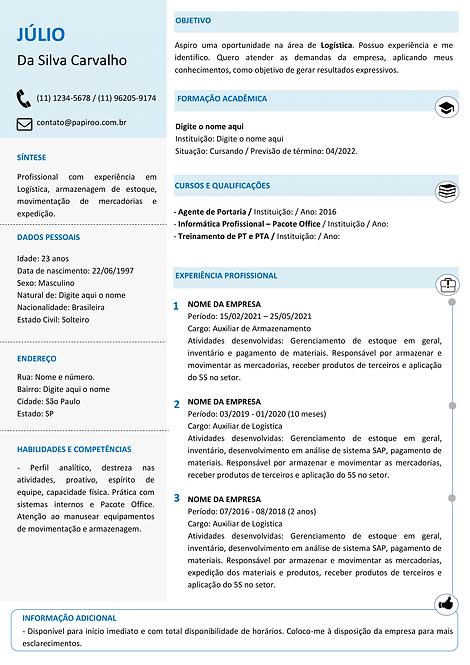 Currículo Azul Claro e Cinza Claro - REF: MOD14
