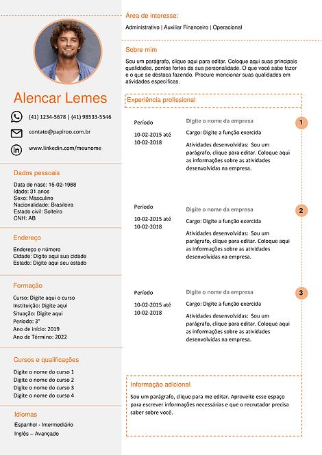 Currículo laranja claro e cinza claro - REF: MCV014