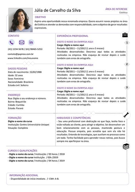 Currículo Roxo e preto - REF:MCV089