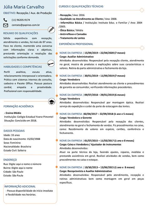 Currículo Azul Claro e Laranja - REF:MOD07