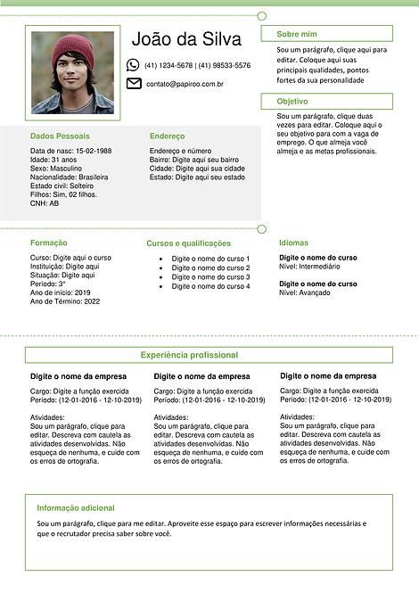 Currículo Verde, cinza e branco - REF: MCV001