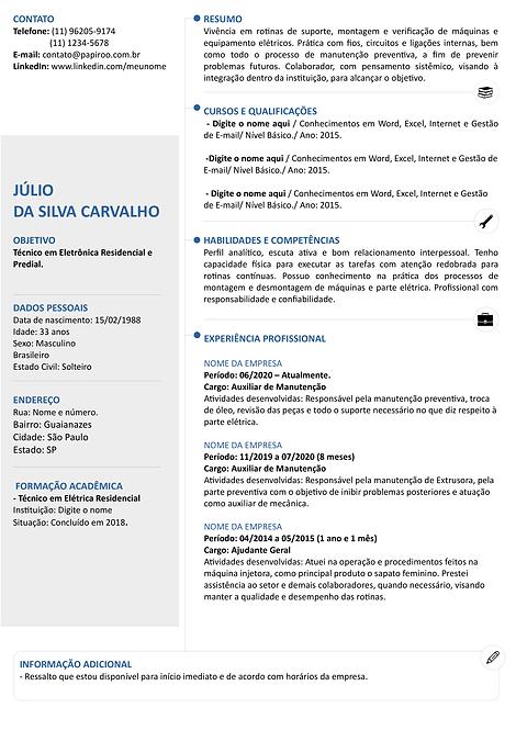 Currículo Azul e Cinza Claro - REF:MOD19