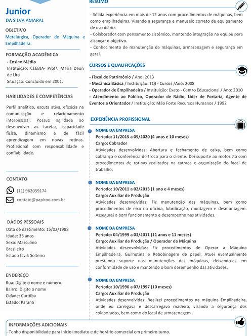 Currículo Azul e Cinza Claro - REF:MOD06
