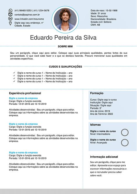 Currículo azul claro - REF: MCV016