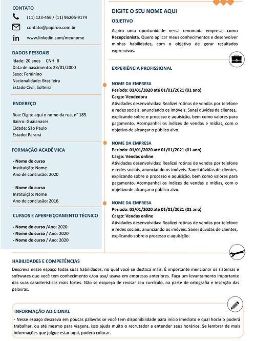 Currículo Azul Claro e Laranja - Ref: MOD02