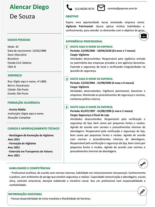 Currículo Verde e Preto - REF:MOD03