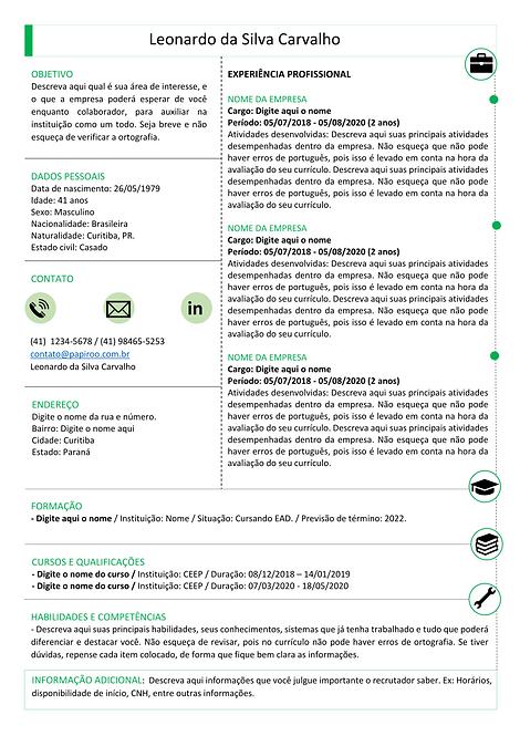 Currículo verde e preto - REF:MCV084