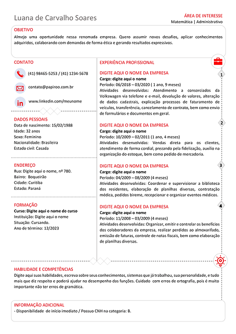 Currículo vermelho, preto e cinza - REF:MCV080