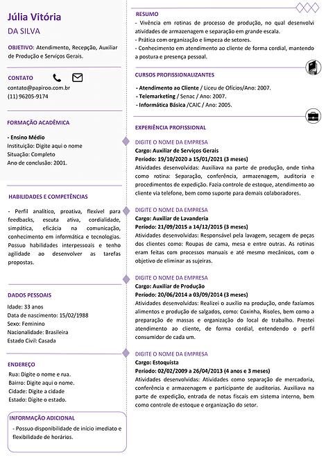 Currículo Roxo e Cinza Claro - REF: MOD08