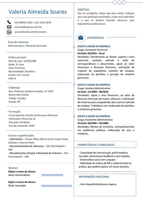 Currículo Azul Claro - REF: MCV060