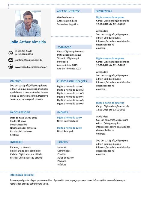 Currículo azul claro e cinza - REF: MCV020