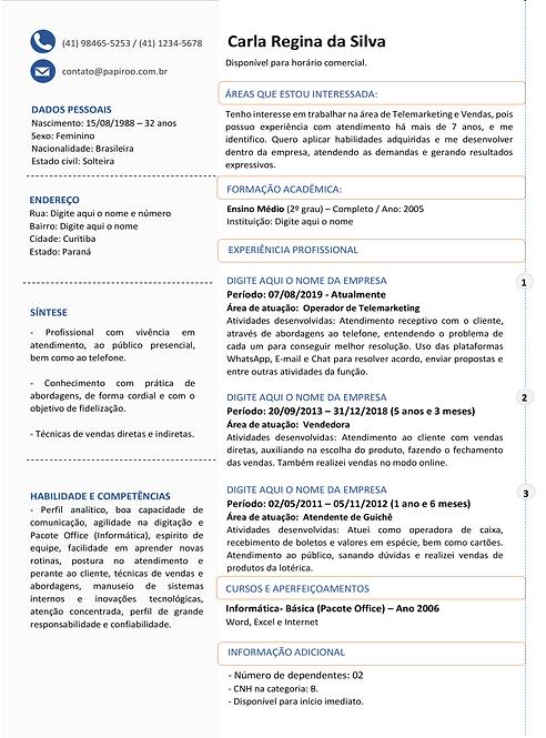 Currículo Cinza, Azul e Laranja - REF:MCV082