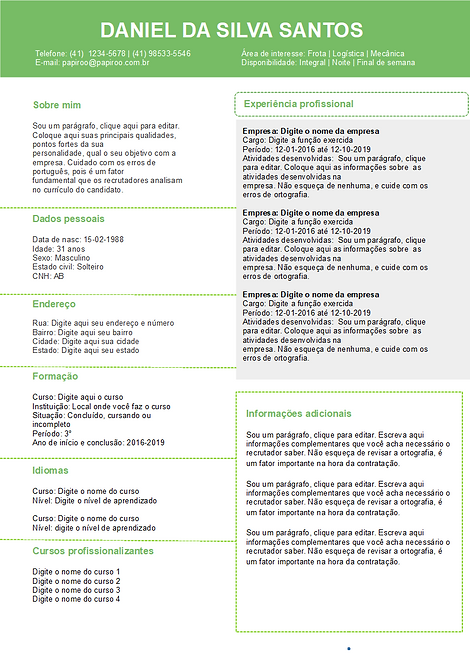 Currículo verde e cinza. REF: MCV024