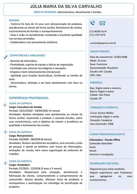 Currículo Azul Claro - REF: MOD11