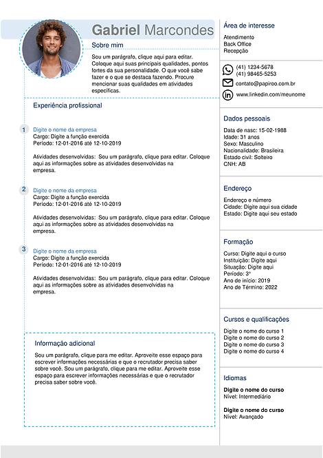 Currículo azul claro e cinza - REF: MCV017