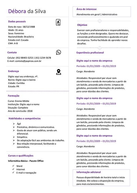 Currículo Púrpura Claro - REF: MCV041