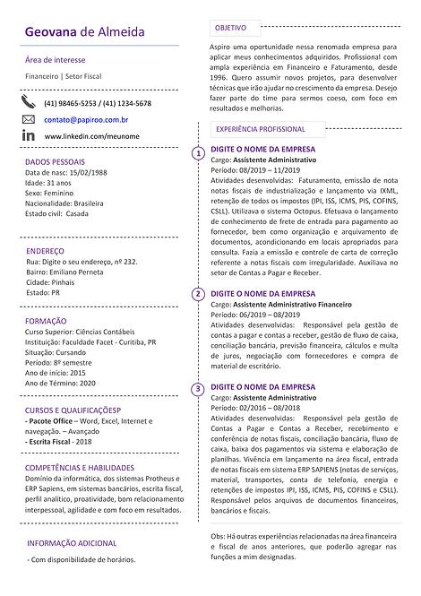 Currículo Roxo Claro - REF: MCV062