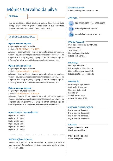 Currículo azul claro, laranja e cinza - REF:MCV067
