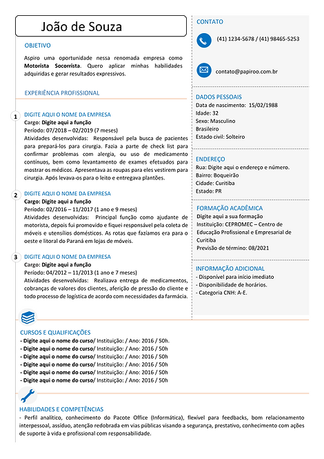 Currículo Laranja e Azul - REF:MCV086