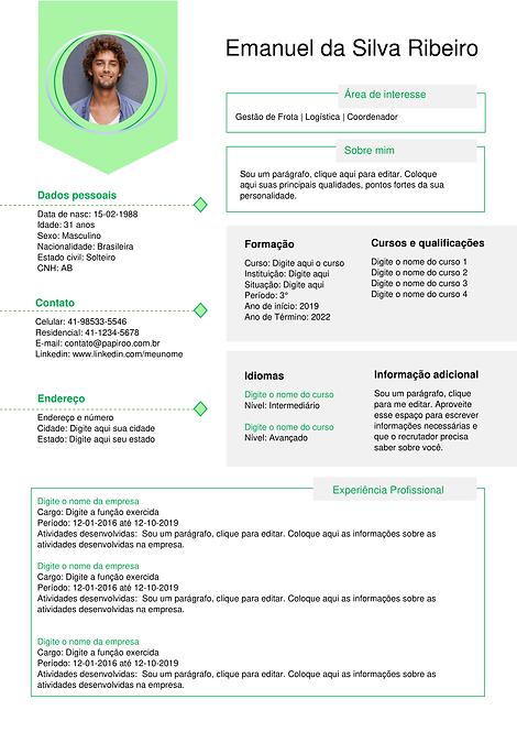 Currículo Verde claro e cinza claro - REF: MCV004