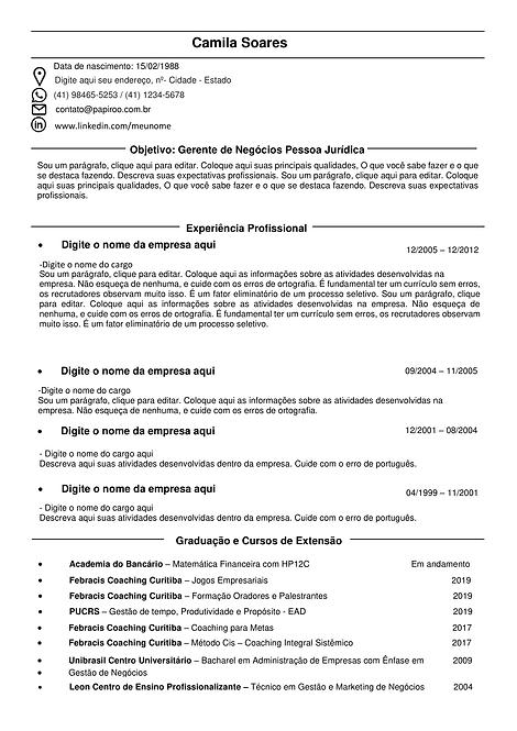 Currículo Preto Tradicional - REF: MCV057