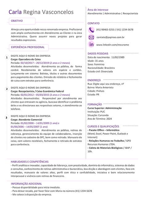 Currículo rosa e roxo - REF:MCV071