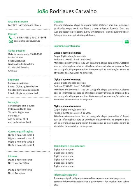 Currículo verde, cinza e preto - REF: MCV066