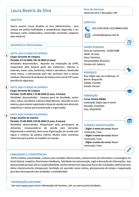 Currículo Azul e preto - REF:MCV076