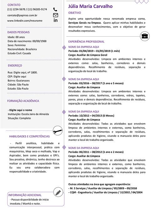 Currículo Roxo e Cinza Claro - REF:MOD04