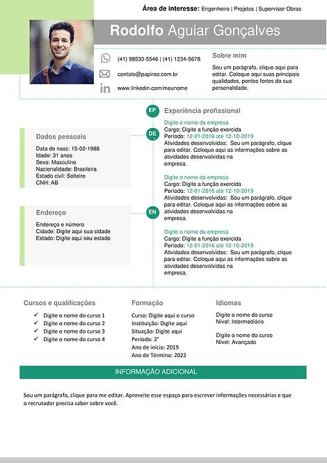 Currículo Verde, verde claro e cinza claro - REF: MCV010