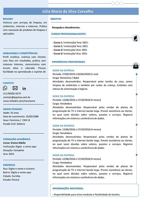 Currículo Azul Claro e Azul Escuro - REF: MOD10
