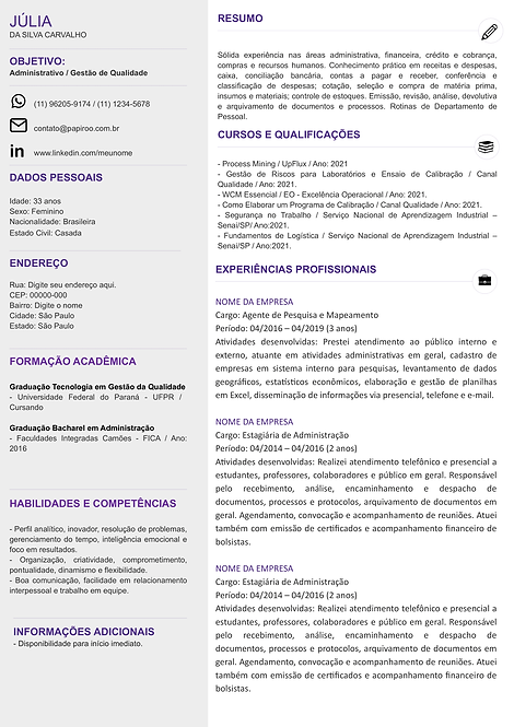 Currículo Cinza Claro e Roxo - REF:MOD20